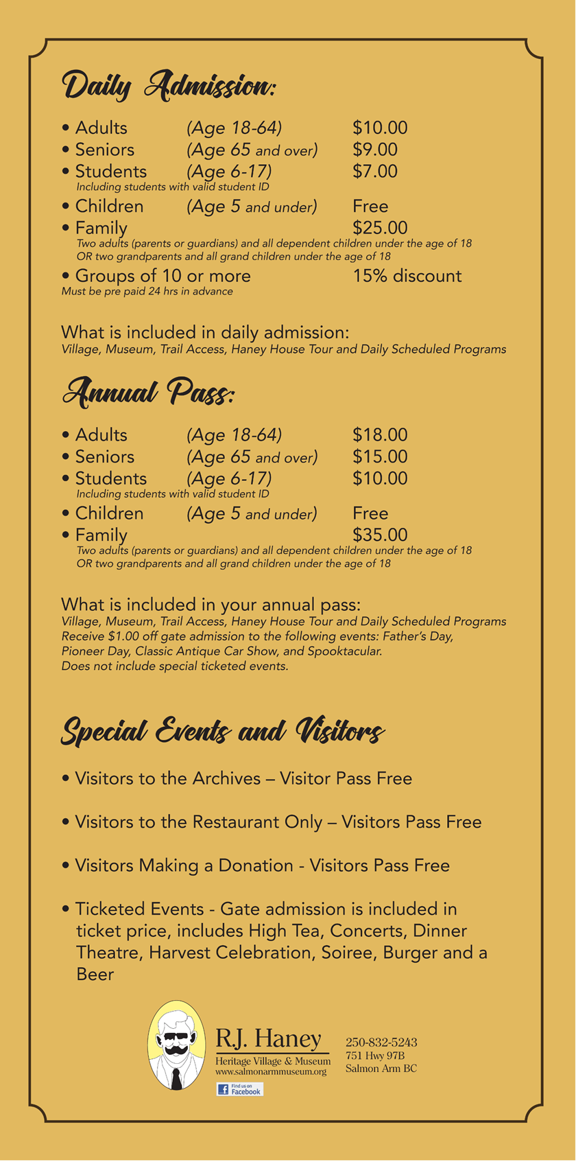 Pricing and Admission Rates at RJ Haney